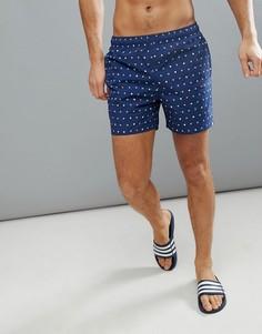 Темно-синие шорты для плавания с принтом adidas CV5124 - Темно-синий