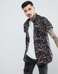 Рубашка с принтом Rollas - Черный Rollas