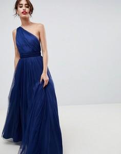 Платье макси на одно плечо из тюля ASOS DESIGN - Фиолетовый
