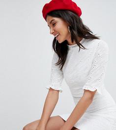 Платье с вышивкой ришелье и оборками Parisian Tall - Белый