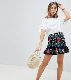 Мини-юбка с вышивкой ASOS DESIGN Petite - Черный