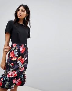 Платье 2-в-1 с цветочным принтом на юбке Paper Dolls - Мульти