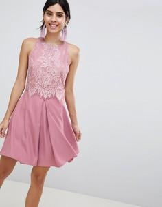 Кружевное короткое приталенное платье Little Mistress - Розовый