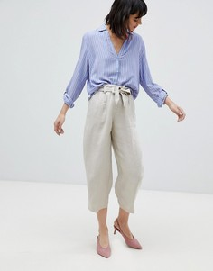 Широкие укороченные брюки с добавлением льна Esprit - Бежевый