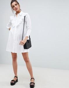 Платье-рубашка мини с вышивкой ришелье ASOS DESIGN - Белый