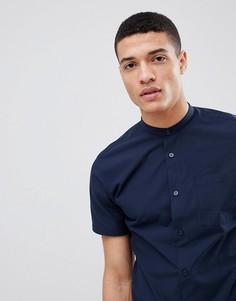 Рубашка с короткими рукавами и воротником на пуговицах Selected Homme - Темно-синий