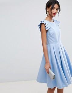 Платье миди с оборками Ted Baker - Синий