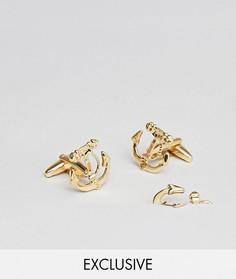 Набор с запонками и булавкой на лацкан (2 шт.) DesignB эксклюзивно для ASOS - Золотой