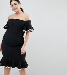 Платье-футляр миди с открытыми плечами John Zack Plus - Черный