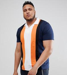 Свободная футболка-поло с вертикальными вставками и воротником ASOS DESIGN Plus - Темно-синий