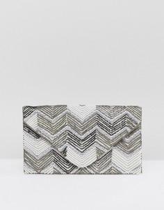 Клатч с отделкой бисером New Look - Кремовый
