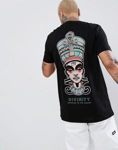 Удлиненная свободная футболка с принтом ASOS DESIGN - Черный