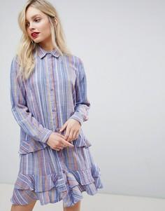 Платье-рубашка с оборками New Look - Синий