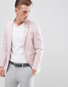 Розовый блейзер классического кроя с добавлением льна Burton Menswear - Розовый