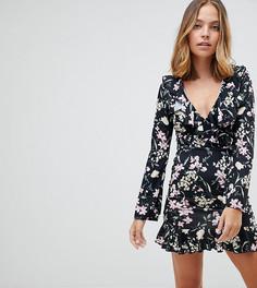 Платье мини с цветочным принтом Missguided Petite - Черный