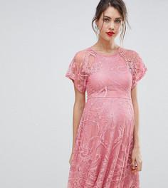 Короткое приталенное кружевное платье с расклешенными рукавами ASOS MATERNITY - Розовый
