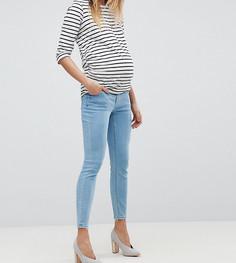 Песочные джинсы скинни с завышенной талией и посадкой под животом ASOS MATERNITY RIDLEY - Синий
