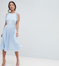 Плиссированное платье миди с открытой спиной и оборками ASOS DESIGN Petite - Мульти
