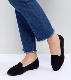 Туфли-слипоны для широкой стопы на плоской подошве New Look - Черный