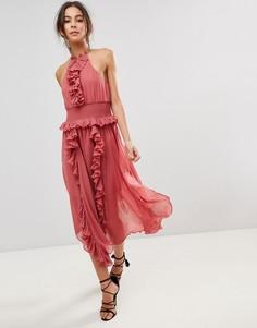 Приталенное платье с оборками Keepsake - Розовый