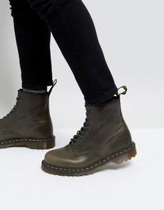 Серо-коричневые ботинки с 8 парами люверсов Dr Martens 1460 - Коричневый
