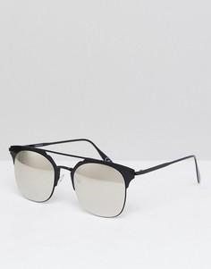 Солнцезащитные очки в черной металлической оправе с серебристыми стеклами ASOS - Черный