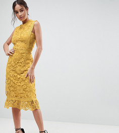 Кружевное платье миди Boohoo - Коричневый