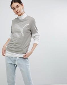 Серая футболка бойфренда с логотипом Puma Archive - Белый
