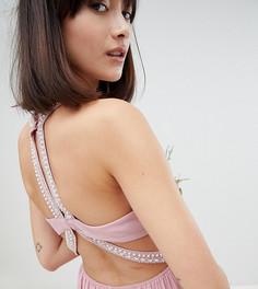Платье макси с декоративной отделкой TFNC - Розовый