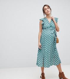 Платье миди в горошек с рукавами клеш Glamorous - Зеленый