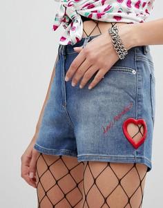 Джинсовые шорты с вышивкой Love Moschino - Синий