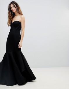 Облегающее сетчатое платье-бандо с юбкой годе Bariano - Черный