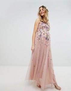Платье макси из сетчатой ткани добби с цветочной вышивкой ASOS DESIGN Maternity Bridesmaid - Мульти