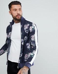 Спортивная куртка с цветочным принтом и полосами ASOS - Темно-синий