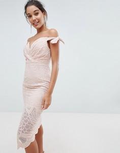 Платье с широким вырезом и завязками Love Triangle - Розовый