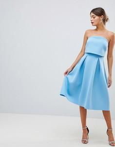 Платье-бандо миди для выпускного с кроп-топом ASOS DESIGN - Синий