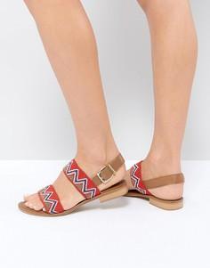 Кожаные сандалии с бисером Ravel - Красный
