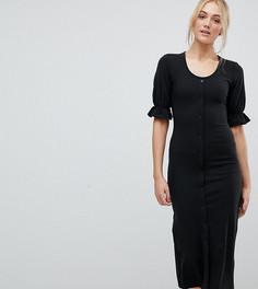 Облегающее платье миди с овальным вырезом на пуговицах Fashion Union Tall - Черный
