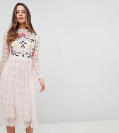Короткое приталенное премиум-платье для выпускного с вышивкой Frock And Frill Tall - Розовый