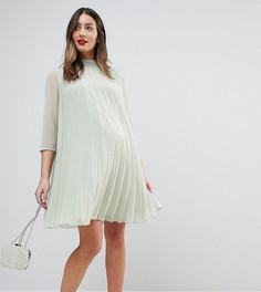 Плиссированное платье-трапеция мини ASOS Maternity - Зеленый