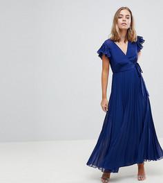 Плиссированное платье макси с расклешенными рукавами ASOS PETITE - Темно-синий