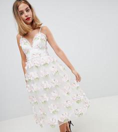 Платье миди для выпускного на бретельках с цветочной 3D-отделкой ASOS EDITION Petite - Мульти