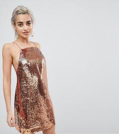 Расшитое пайетками платье мини на бретельках ASOS PETITE - Золотой