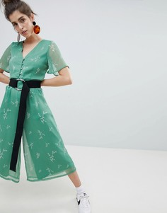 Комбинезон с цветочным принтом Neon Rose - Зеленый