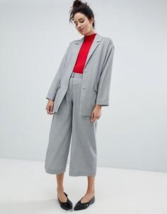 Строгие брюки с широкими штанинами Monki - Серый