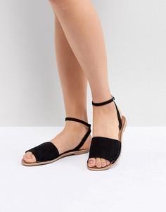 Замшевые сандалии на плоской подошве New Look - Черный