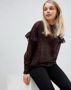 Блузка с оборками и цветочным принтом JDY Tina - Черный
