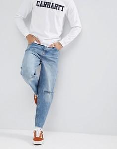 Синие джинсы с рваной отделкой ASOS DESIGN - Синий