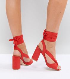 Босоножки на блочном каблуке для широкой стопы с завязками Truffle Collection - Красный
