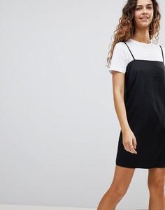 Платье-комбинация мини с квадратным вырезом ASOS - Черный